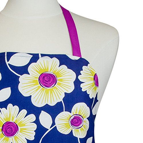 Handmade Kitchen Apron  AP0047 Matching Pot Holders  Mothers Day Gift Set  Navy Blue and Purple