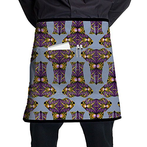 Rainbow Floral Pattern Elephant Adjustable Cooking Waist Kitchen Aprons