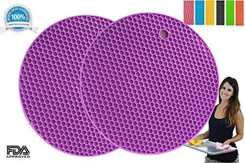Pot Holders Set of 2 Premium Heavy Duty Multipurpose Silicone Trivets Jar Opener Large Coaster Spoon Rest Flexible Durable Heat Resistant Mat Purple