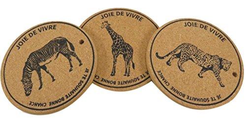 Safari Cork Plant Coaster Trivet Mat Zebra Giraffe Leopard 64 Inch Brown Set of 3