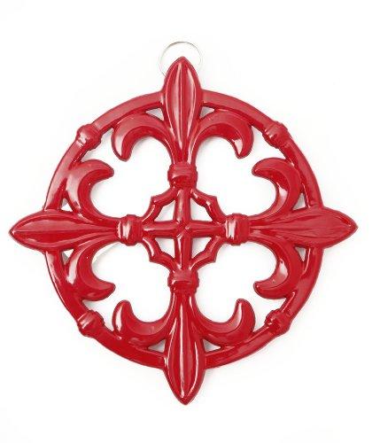 Old Dutch Fleur De Lis Trivet 9-Inch Red