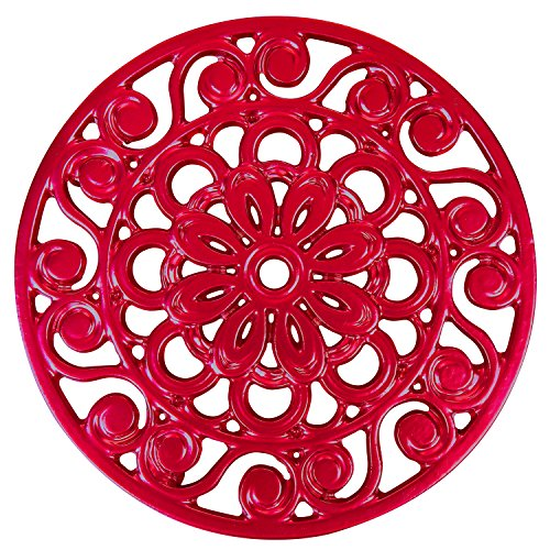 Trademark Innovations Decorative Cast Iron Metal Trivet Red