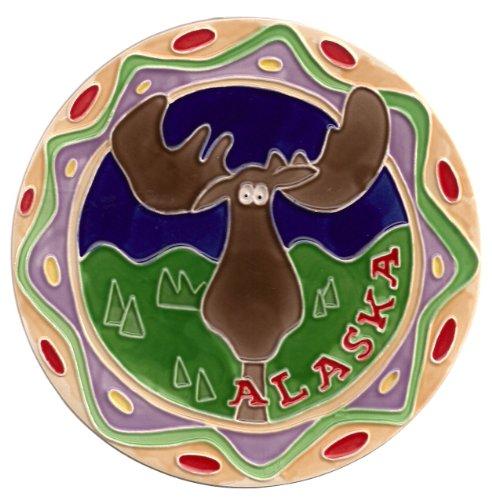 Alaska Moose Round Ceramic Trivet