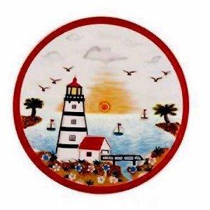 Lighthouse Faro Ceramic Tile Trivet or Wall Sculpture Plaque 8 Diameter Multi