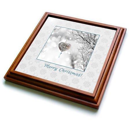 3dRose Beverly Turner Christmas Design - Graceful Heart Ornament on Frozen Tree Branch Merry Christmas - 8x8 Trivet with 6x6 ceramic tile trv_267937_1