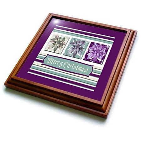 3dRose Beverly Turner Christmas Design - Poinsettias in Green Aqua and Plum Purple Frame Merry Christmas - 8x8 Trivet with 6x6 ceramic tile trv_267985_1