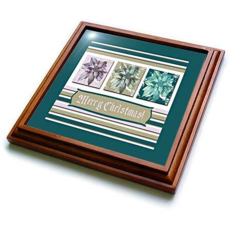 3dRose Beverly Turner Christmas Design - Poinsettias in Green Lavender and Lime Frame Merry Christmas - 8x8 Trivet with 6x6 ceramic tile trv_267984_1