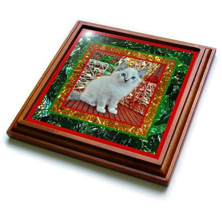 3dRose trv_14893_1 Kittys Christmas Trivet with Ceramic Tile 8 by 8 Brown