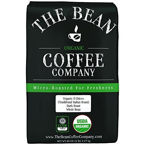 The Bean Coffee Company Organic Il Chicco Traditional Italian Roast Dark Roast Whole Bean 5-Pound Bag