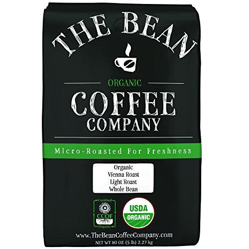 The Bean Coffee Company Organic Vienna Roast Light Roast Whole Bean 5-Pound Bag