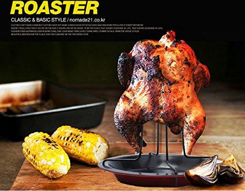 Cphome Non-Stick Carbon Steel Vertical  Chicken Roaster