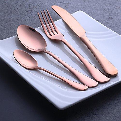 Buyer Star 4-Pieces Flatware Set Rose Gold Stainless Steel Silverware Utensils Wedding Steel Dinnerware Cultery Utensil Set Dessert Teaspoon Knife and Fork