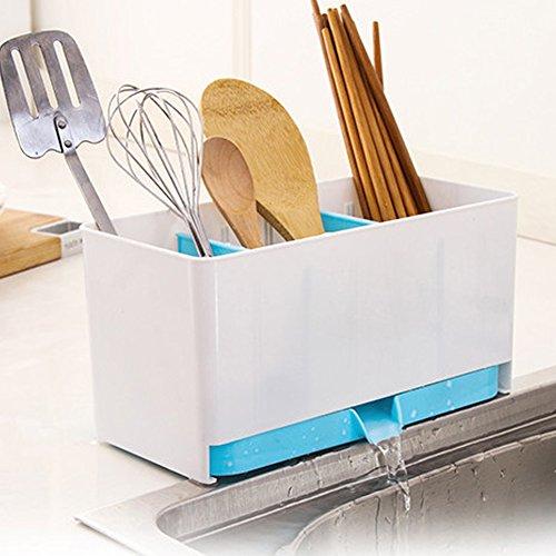 Wivily Drain Cutlery Storage Box Bathroom Cosmetic Storage Holder Box