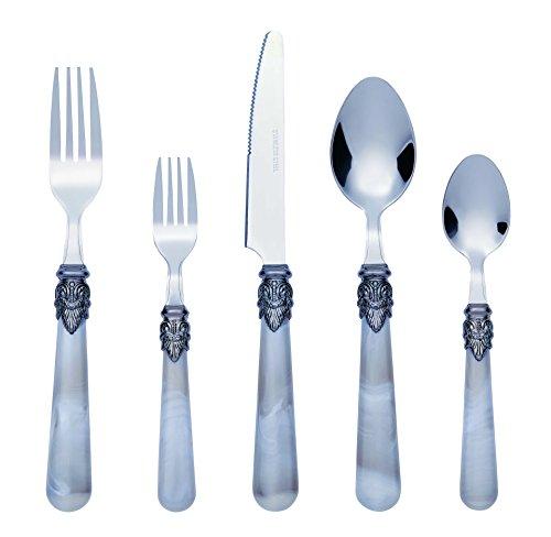 Bon Marble 20-Piece Stainless Steel Flatware Set - Grey