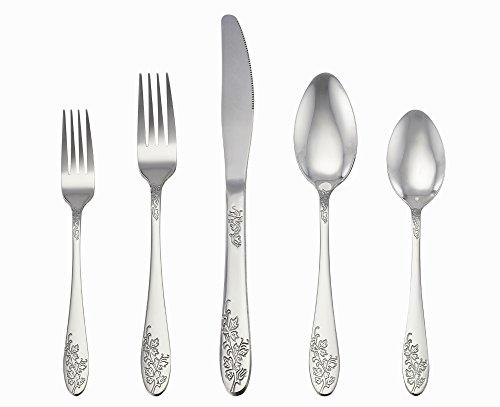 LIANYU 20-Piece Silverware Set Stainless Steel Flatware Cutlery Set Service for 4 Mirror Finish Elegant Patterns - Dishwasher Safe
