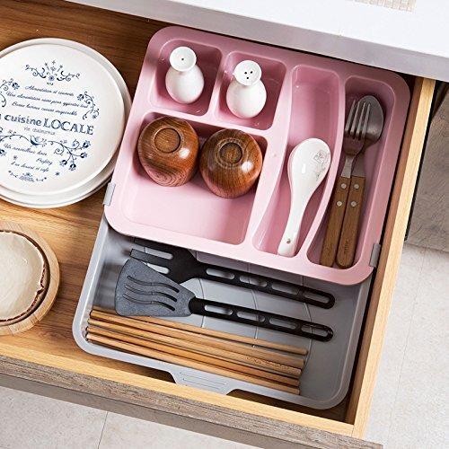 Astra Gourmet Expandable Flatware Drawer OrganizerPlastic Cutlery TrayKitchen Utensil Drawer OrganizerStorage Container Holder Pink