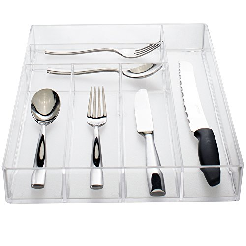 Clear Plastic Kitchen Drawer Organizer  Silverware and Utensil Tray