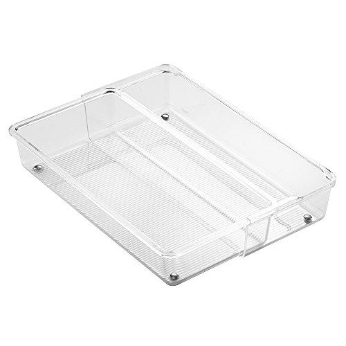 InterDesign Linus Expandable Kitchen Drawer Organizer for Silverware Spatulas Gadgets - 12 x 6 x 25 Clear