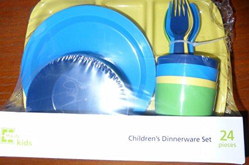 Mainstays Kids Childrens Dinnerware Set 24pcs Blue Dark Blue Yellow and Green