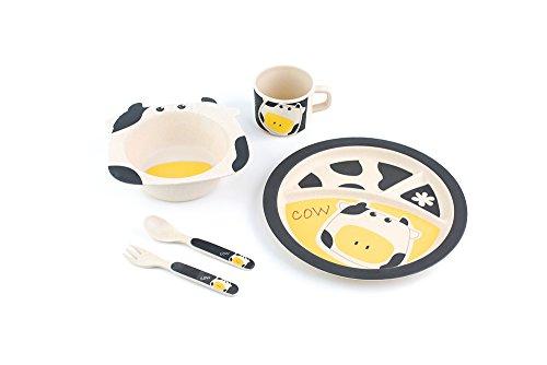 Peterson Housewares BF0263004S 5 Piece Kids Dinnerware Bamboo Fibre Set Cow
