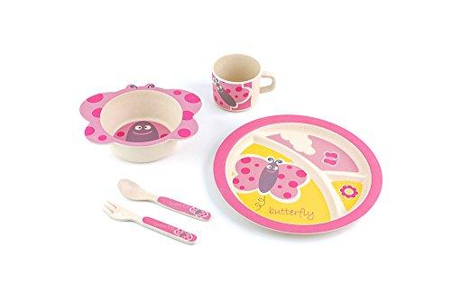 Peterson Housewares BF0263023S 5 Piece Kids Dinnerware Bamboo Fibre Set Butterfly