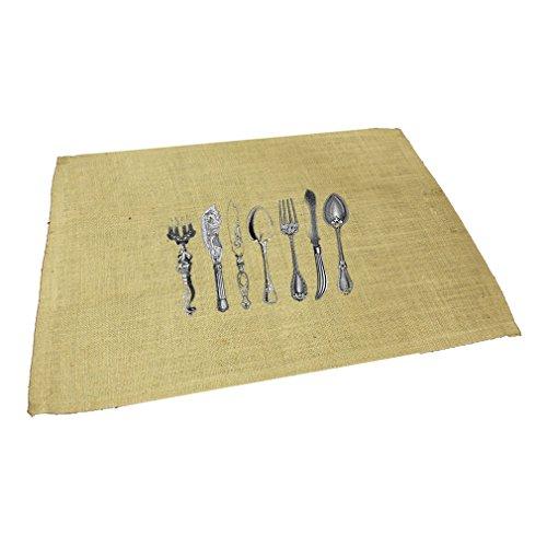 Vintage Cutlery 1 Jute Burlap Placemat