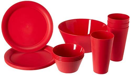 CreativeWare RM-CH623CHRY Cherry 13 Piece My First DormApartment Plastic Dish Set