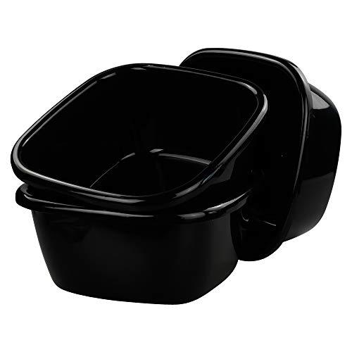 HOMMP 3-Pack 16 Quart Plastic DishpansWash Basins Black