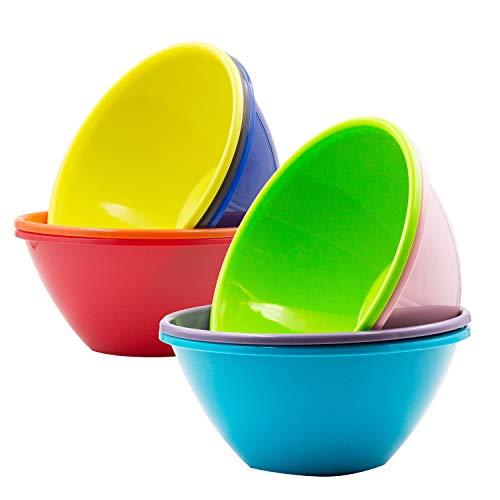 Youngever 32 Ounce Plastic Bowls Large Cereal Bowls Large Soup Bowls Microwave Safe Dishwasher Safe Set of 9 in 9 Assorted Colors