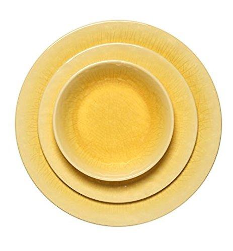 Melange 12-Piece 100 Melamine Dinnerware Set Crackle Collection   Shatter-Proof and Chip-Resistant Melamine Plates and Bowls  Color Sunflower  Dinner Plate Salad Plate Soup Bowl 4 Each