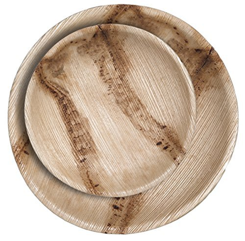 CaterEco Round Palm Leaf Plates Set 96 Pack  48 Dinner Plates and 48 Salad Plates  Ecofriendly Disposable Dinnerware  Heavy Duty Biodegradable Party Utensils for Wedding Camping More