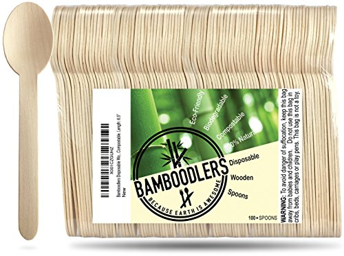 Disposable Wooden Spoons by Bamboodlers  100 All-Natural Eco-Friendly Biodegradable and Compostable - Because Earth is Awesome Pack of 100-65 Spoons