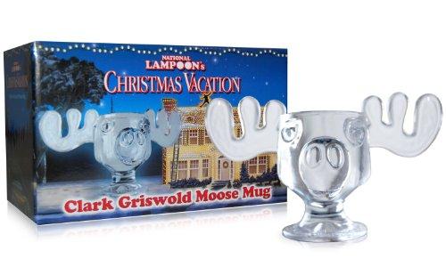 Christmas Eggnog Moose Mugs - Hand-Made Glass - Set of Two