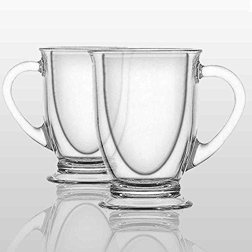 Double Wall Glass Coffee Mug  Set of Two
