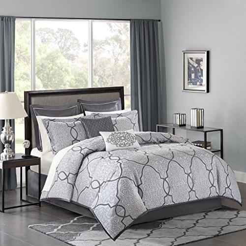 Madison Park MP10-4045 Lavine 12 Piece Jacquard Comforter Set Silver King