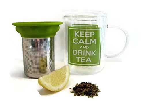 Best Glass Tea Mug with Stainless Steel Tea Infuser - Loose Leaf Tea Infuser Mug - Tea Strainer - Tea Steeper - Keep Calm and Drink Tea Nicely Gift Boxed - Great Tea Steeping System