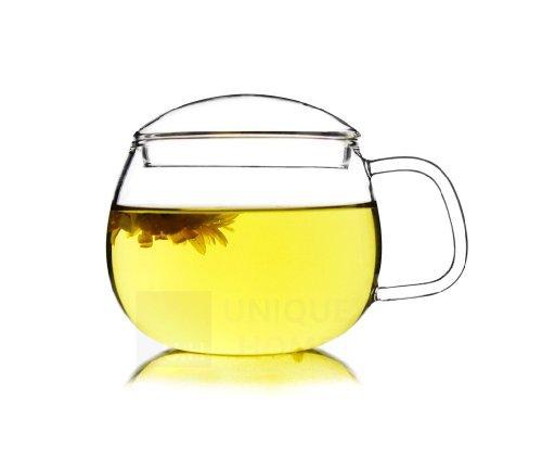 Handmade Gift Glass Tea Mug Cup with Lid 300ml - Zeo Lite Unihom by Unihom