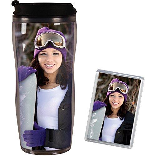 PixMug Photo Travel Mug - The Mug Thats A Picture Frame - DIY - Insert your own photos or designs - 14-oz with flip top Bonus PixMag Photo Magnet