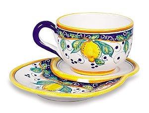 Arte DItalia Imports Italian Ceramic Alcantara Latte Cup with Saucer - Handmade in Deruta