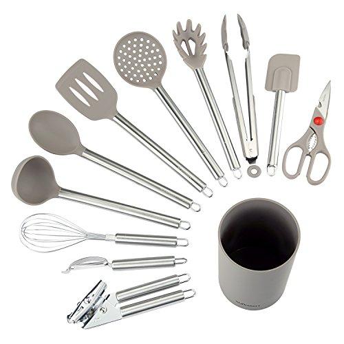 NEXGADGET Kitchen Utensils - 12 Piece Cooking Utensils - Nonstick Utensil Set - Silicone and Stainless Steel Kit