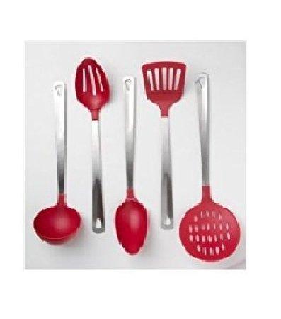 Cooks Corner 5-Piece Kitchen Utensil Set - Stainless Steel Red