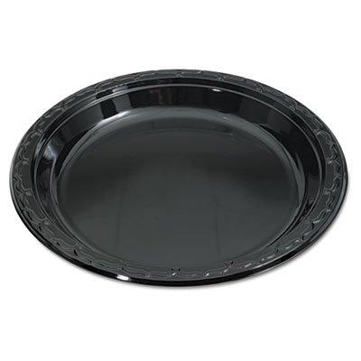Genpak Silhouette Black Plastic Plates 10 14 Inches Round 100Pack