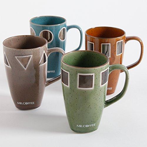 Mr Coffee Geometrie 4 Pack 20oz Tall Latte Mugs Assorted Designs