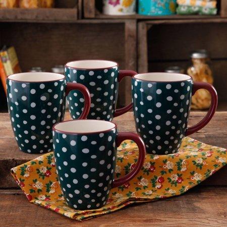 The Pioneer Woman Retro Dots 26-Ounce Jumbo Latte Mug Set 4-Pack  Retro Dots Latte Mug Set 4-Pack