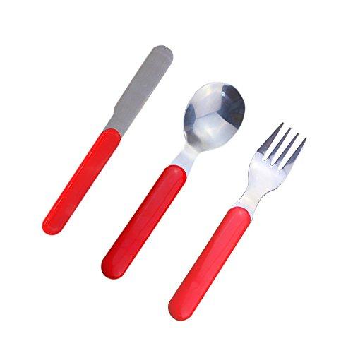 Dernord Toddler Silverware Kids Cutlery Set Child flatware Stainless Steel Utensil Knife Fork Spoon 3-Piece