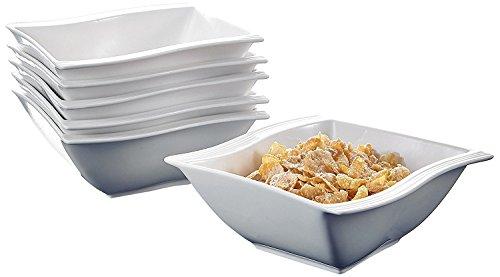Malacasa Series Flora 6-Piece 575 inch 12 Ounce Ivory White Porcelain China Ceramic Cream White Cereal BowlsSet of 6