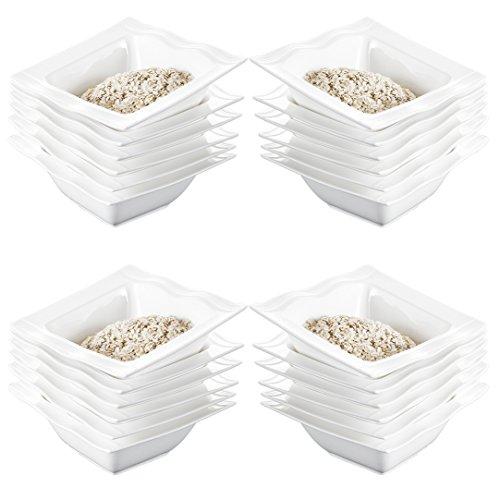 Malacasa Series Mario 55 inch 12 Ounce Ivory White Porcelain China Ceramic Cream White Cereal Bowls Set of 24