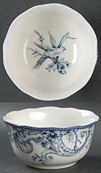 222 Fifth Adelaide Blue White Cereal Bowls Set of 4