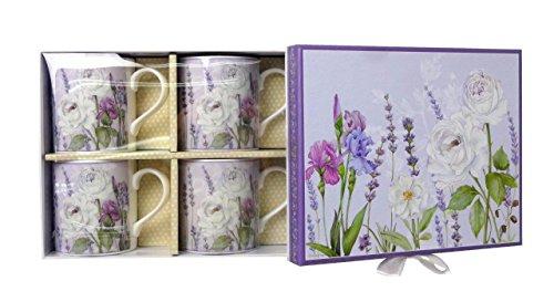 Lightahead Elegent Bone China Coffee Mug set of 4 in a reusable handmade gift pack in Lavender Treasure Design