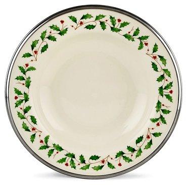 Lenox Holiday Platinum Ivory China Pasta Bowl Rim Soup